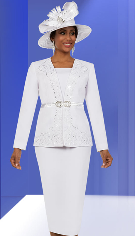 Fifth Sunday 52883-W ( 2pc Skirt Suit With Embellished Intricate Pattern Jacket )