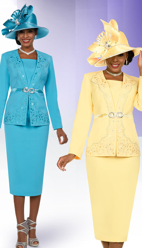 Fifth Sunday 52883 ( 2pc First Ladies Skirt Suit With Embellished Intricate Pattern Jacket )