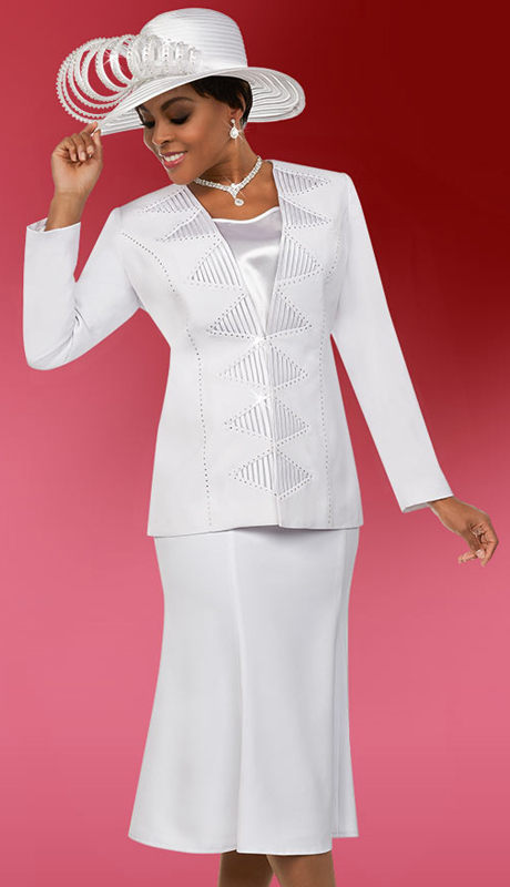 Fifth Sunday 52882-W ( 2pc Flared Skirt Suit For Church With Embellished Triangle Pattern Jacket )