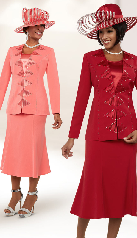 Fifth Sunday 52882 ( 2pc Flared Skirt Suit For Church With Embellished Triangle Pattern Jacket )