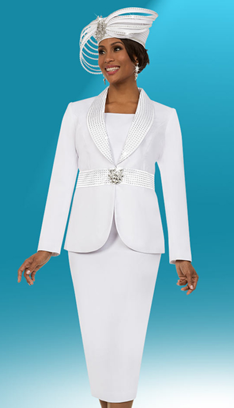 Fifth Sunday 52881-W ( 2pc Skirt Suit With Embellished Shawl Lapel Jacket )