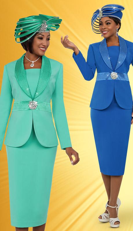 Fifth Sunday 52881 ( 2pc Skirt Suit With Embellished Shawl Lapel Jacket )