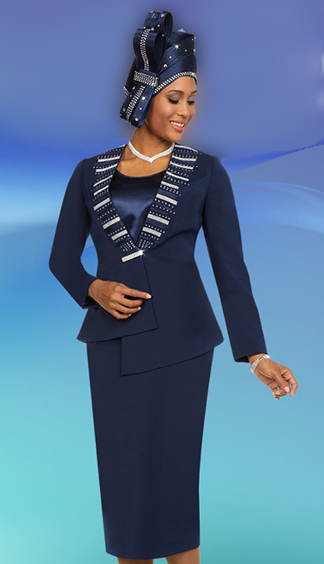 Fifth Sunday 52880-N ( 2pc Skirt Womens Suit With Embellished Asymmetric Style Jacket )