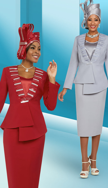 Fifth Sunday 52880 ( 2pc Skirt Womens Suit With Embellished Asymmetric Style Jacket )