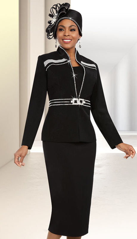 Fifth Sunday 52878-B ( 2pc Skirt Suit For Church With Stand-Up Collar Embellished Jacket )