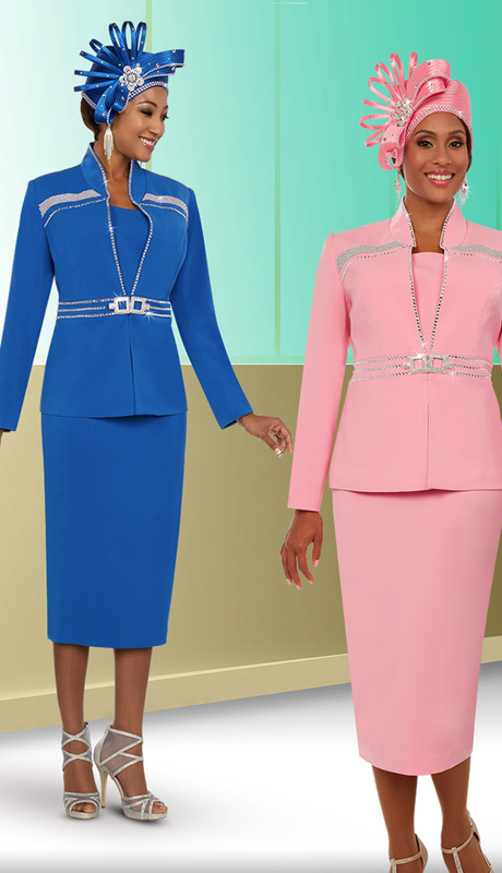 Fifth Sunday 52878 ( 2pc Skirt Suit For Church With Stand-Up Collar Embellished Jacket )