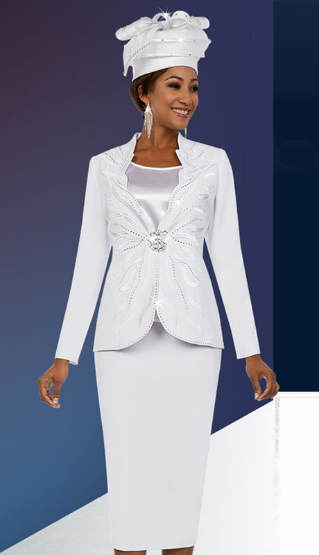Fifth Sunday 52877-W ( 2pc Ladies Skirt Suit With Scalloped Neckline Embellished Jacket )