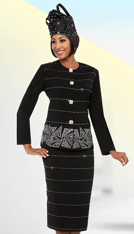 Fifth Sunday 52874-B ( 2pc Embellished Ladies Skirt Suit With Triangular Pattern Design )
