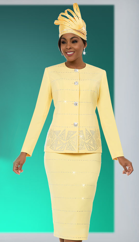 Fifth Sunday 52874 ( 2pc Embellished Ladies Skirt Suit With Triangular Pattern Design )