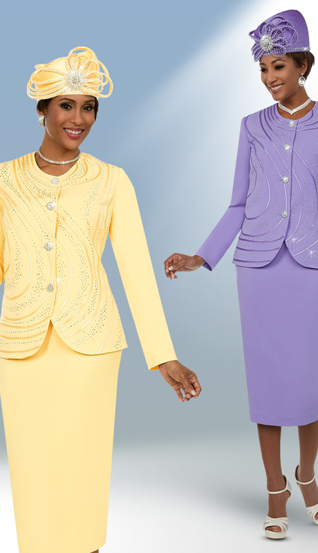 Fifth Sunday 52873 ( 2pc Embellished Ladies Sunday Skirt Suit With Piping Design )