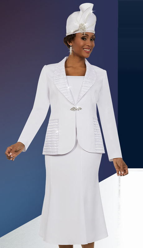 Fifth Sunday 52872-W ( 2pc  Ruffled Shawl Lapel Flared Skirt Suit )