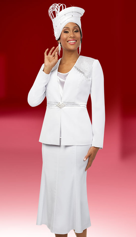 Fifth Sunday 52870-W ( 2pc Embellished Womens Church Suit With Flared Skirt )