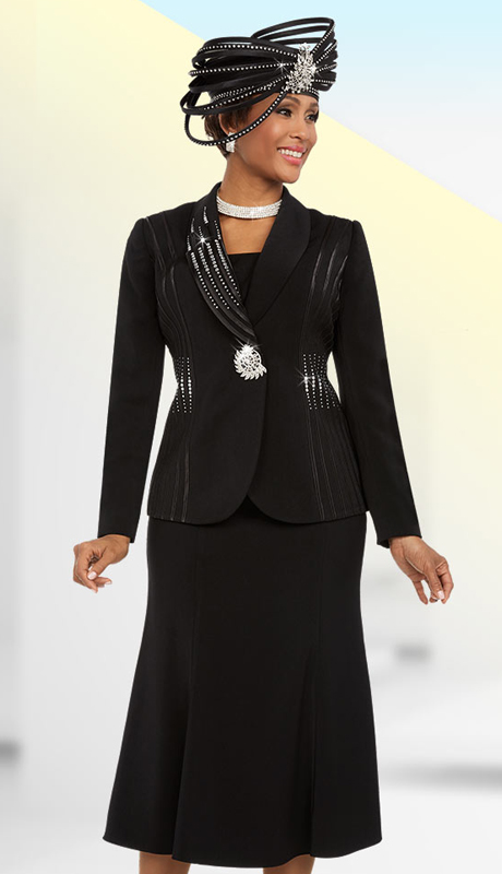 Fifth Sunday 52869-B ( 2pc Flared Ladies Skirt Suit With Embellished Shawl Lapel )