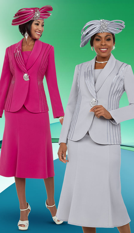 Fifth Sunday 52869-CO ( 2pc Flared Ladies Skirt Suit With Embellished Shawl Lapel )