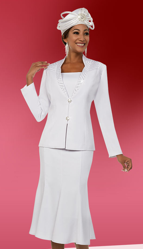 Fifth Sunday 52865-W ( 2pc Embellished Pleated Skirt Suit For Church )