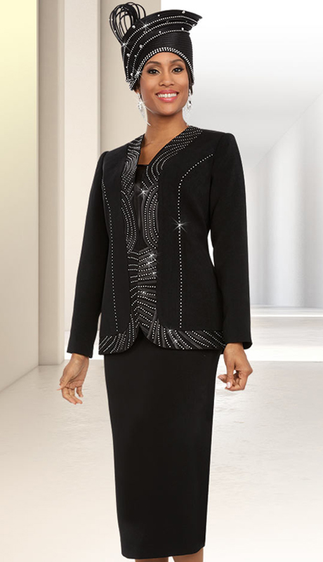Fifth Sunday 52886-B ( 3pc Womens Skirt Suit With Piping Trim Design )