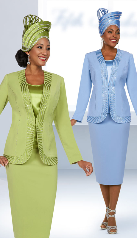 Fifth Sunday 52886 ( 3pc Womens Skirt Suit With Piping Trim Design )