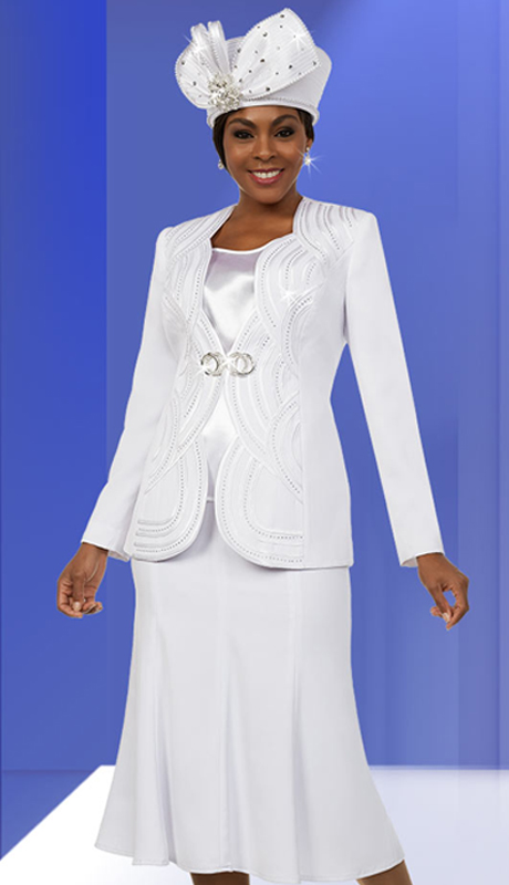 Fifth Sunday 52885-W ( 3pc Flared Skirt Suit With Scalloped Piping Pattern Jacket )
