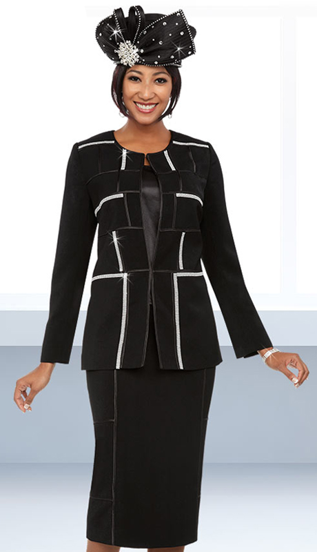 Fifth Sunday 52884-B ( 3pc Skirt Suit With Embellished Block Pattern Design )
