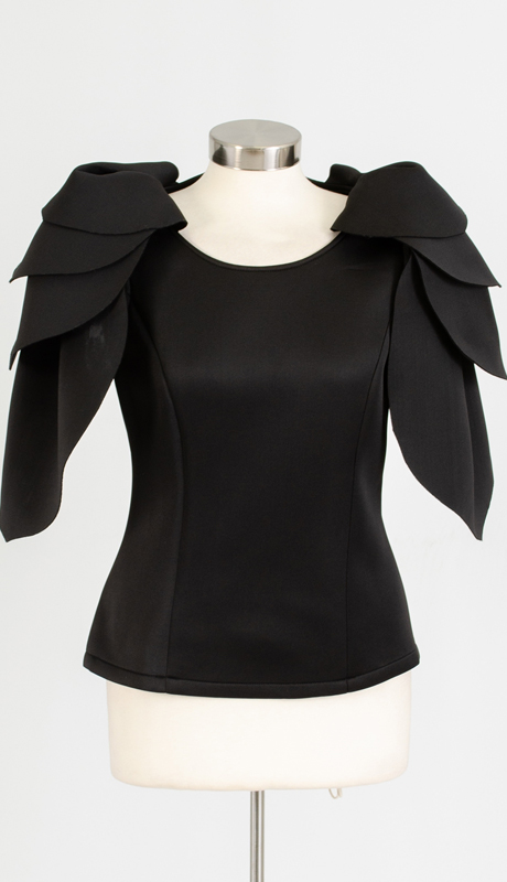 For Her Collection 8837-BK ( 1pc Petal Sleeve Scuba Top )