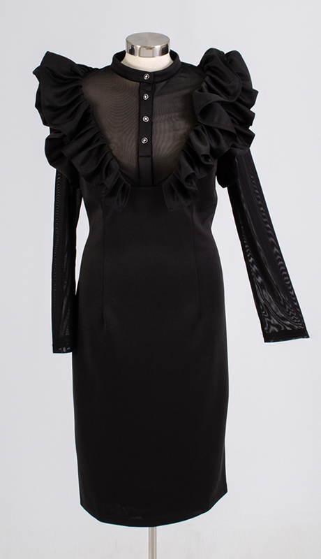 For Her Collection 8803-BK ( 1pc Long Sleeve Sheer Neck Ruffle Dress )