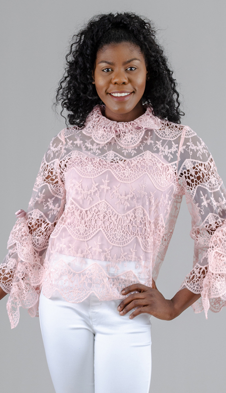 For Her Collection 8596-BL ( 2pc Lace Top )