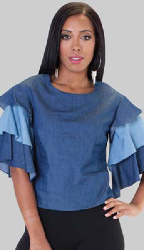 For Her Collection 8592-BMD ( 1pc Tier Sleeve Top )