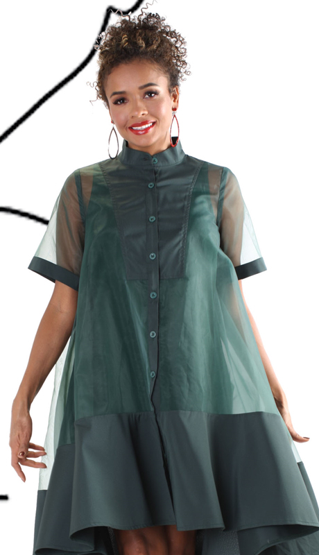 For Her Collection 81540-GR ( 2pc Button Up High Low Sheer Dress )