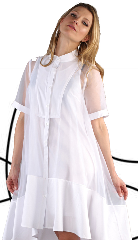 For Her Collection 81540-WH ( 2pc Button Up High Low Sheer Dress )