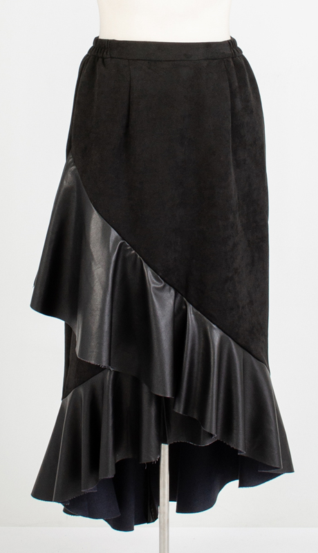 For Her Collection 8796-BK ( 1pc Faux Suede and Leather Ruffle Hem Skirt )