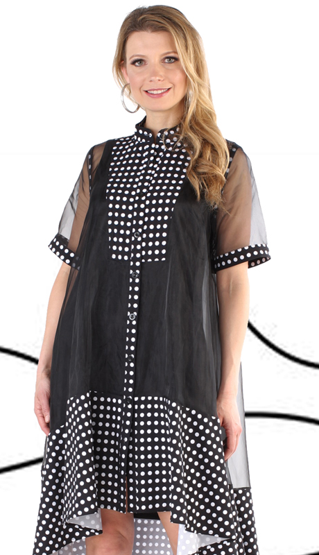 For Her Collection 81540-BW ( 2pc Button Up High Low Sheer Dress )