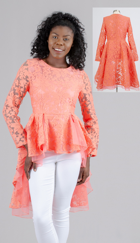 For Her Collection 8784-SA ( 1pc Long Sleeve High Low Floral Peplum Top )