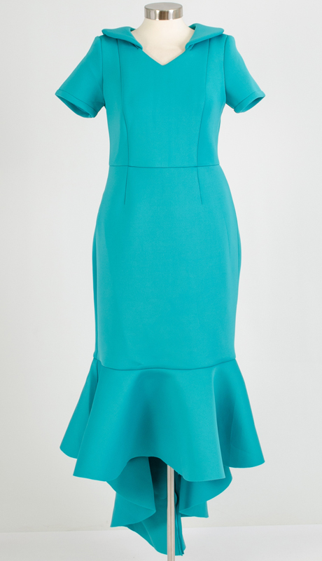 For Her Collection 8783-TU ( 1pc High Low Scuba Dress )