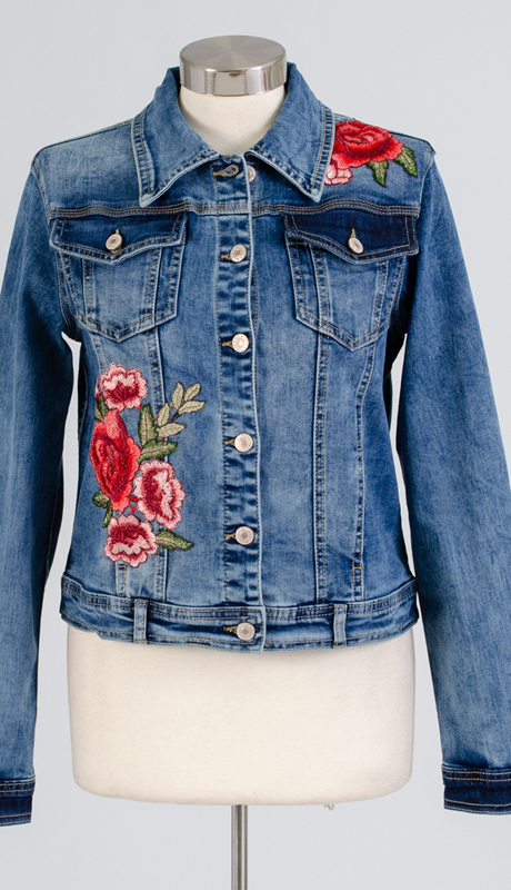 For Her Collection 8779-DE ( 1pc Floral Embroidered Denim Jacket )
