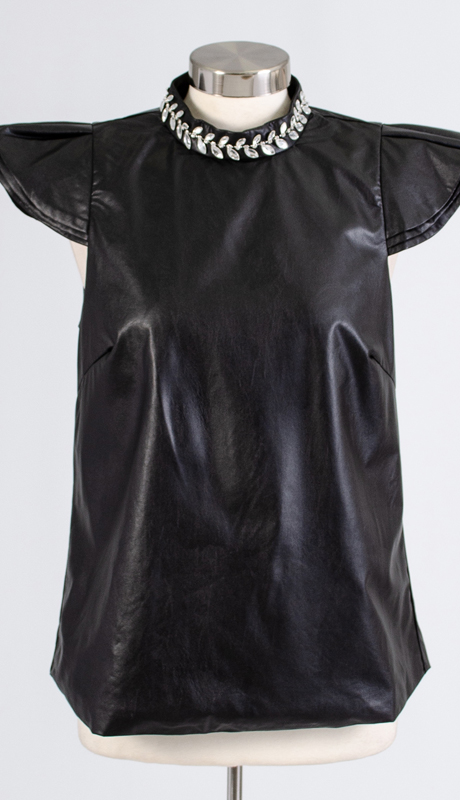 For Her Collection 8771-BK ( 1pc Rhinestone Trim Cap Sleeve Faux Leather Top )
