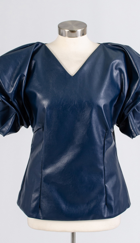 For Her Collection 8771-NA ( 1pc Rhinestone Trim Cap Sleeve Faux Leather Top )