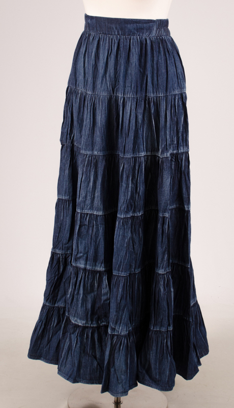 For Her Collection 8757-BWD-CO ( 1pc Long Denim Tiered Skirt )
