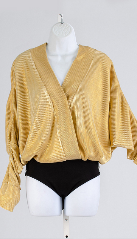 For Her Collection 8813-GO ( 1pc Mock Wrap Bodysuit Top )