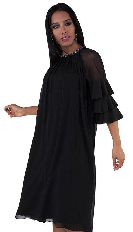 For Her Collection 8743-BK ( 1pc Jeweled Neck Ruffle Sleeve Dress )