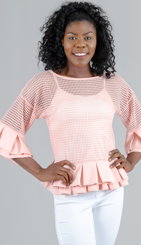 For Her Collection 8741 ( 1pc Pleated Trim Mesh Top )
