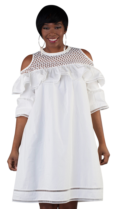 For Her Collection 8738-WH ( 1pc Cold Shoulder Ruffle Dress )