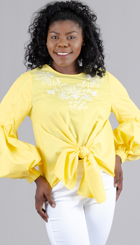 For Her Collection 8736 ( 1pc Embroidered Balloon Sleeve Top )