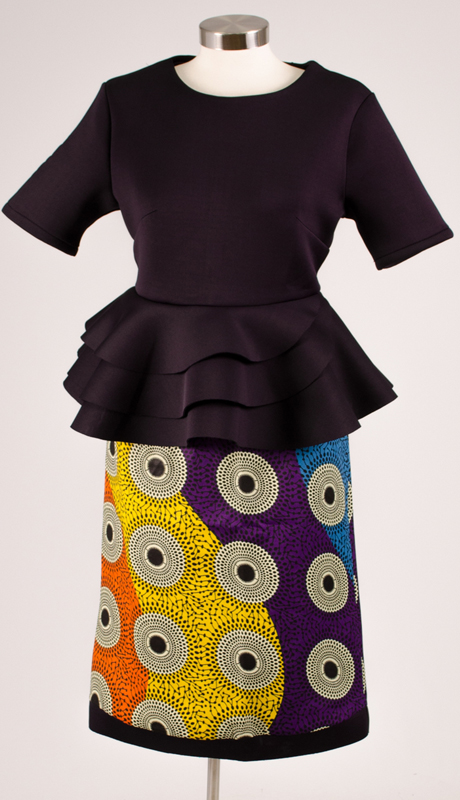 For Her Collection 8733-NA ( 2pc Peplum Top And Printed Skirt )