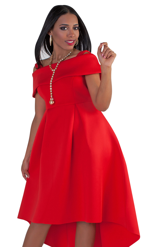 For Her Collection 8631-RE ( 1pc Off-The-Shoulder High-Low Hem Dress )