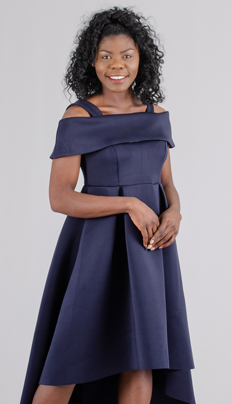 For Her Collection 8631-NA ( 1pc Off-The-Shoulder High-Low Hem Dress )