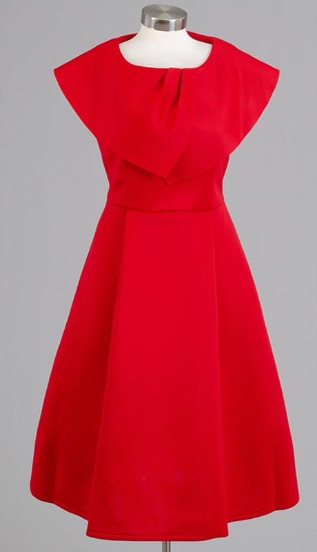 For Her Collection 8730-RE ( 1pc Wide Collar Scuba Dress )
