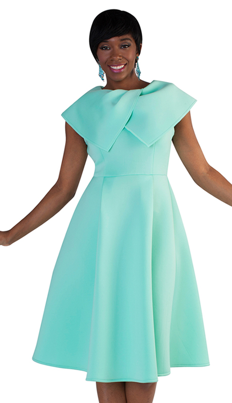 For Her Collection 8730-MI ( 1pc Wide Collar Scuba Dress )
