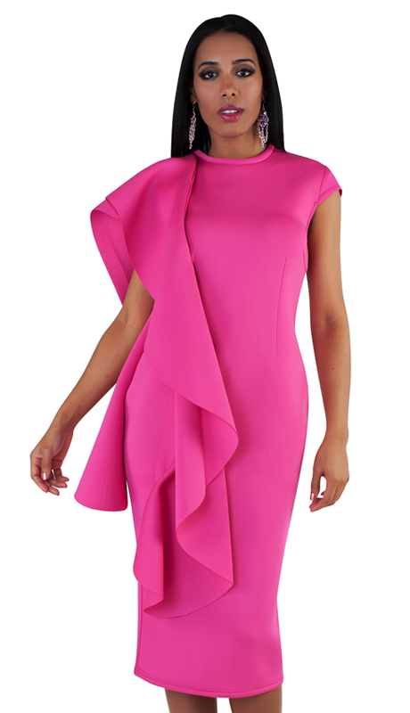 For Her Collection 8712-FU ( 1pc Cascade Ruffle Dress )