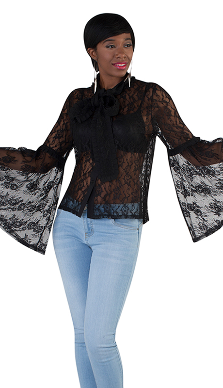 For Her Collection 8709-BK ( 1pc Sheer Lace Bell Sleeve Top )