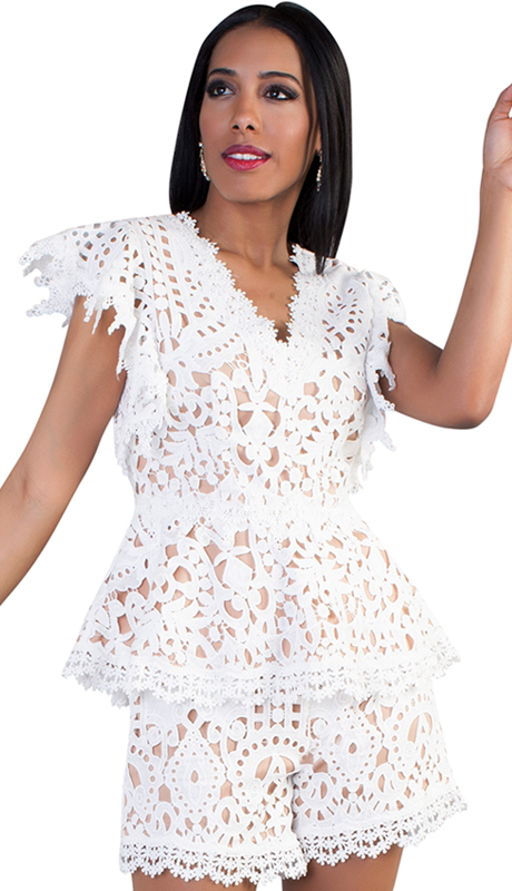 For Her Collection 8703-WN ( 1pc Short-Sleeve Lace Top )